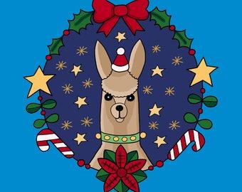 Llama/ Polar Bear Christmas Card
