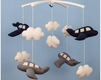 Airplane Mobile -Baby Mobile- Cloud Mobile - Nursery Mobile - Cot Mobile - Felt Mobile - Baby Shower Gift- Baby Gift - Crib Mobile - Nursery
