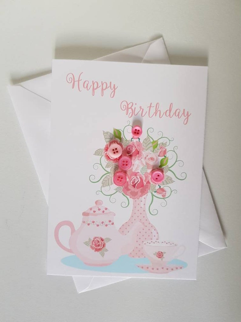 Handmade Happy Birthday Card For Her Flower