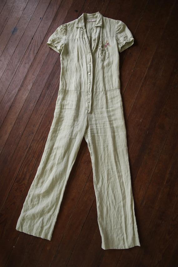 Vintage Chloe cotton Jump suit light green