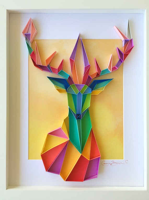 Framed Wall Art Stag Made To Order Geometric Art 3d Paper Etsy