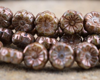 ✿ 10 Ex Large Fleur perle caps antique argent or bronze /& Rouge Cuivre Vendeur Britannique