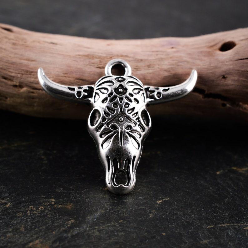 PENDENTIF TETE TAUREAU 29x25mm Silver metal pendant aged engraved tribal ethnic boho spirit 2 Pcs