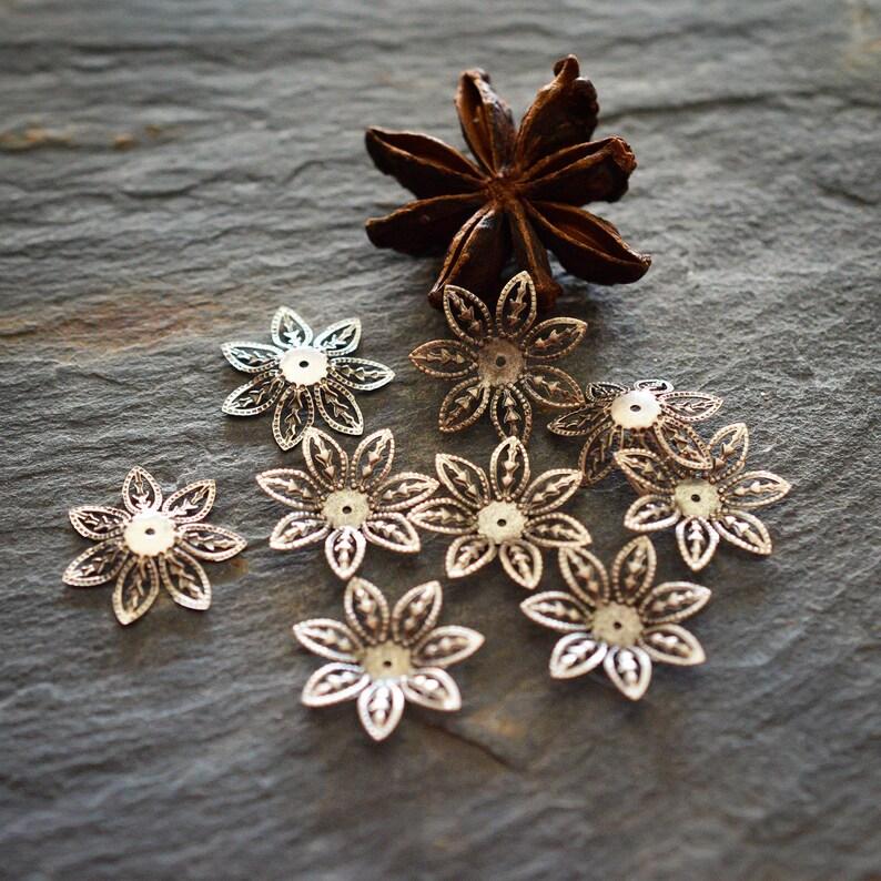 bead caps boho watermarks 10 PCS 16 mm romantic aged silver metal nickel-free Flower cups