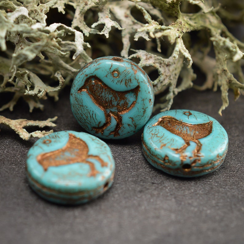 6 Pcs 12mm Pearls Round and Flat Picasso Turquoise Copper
