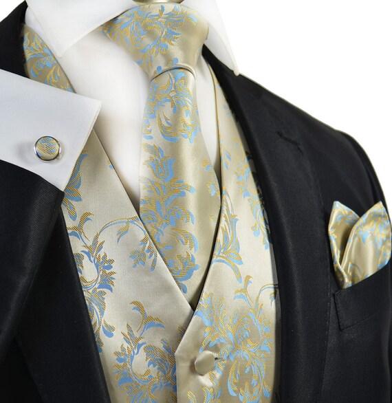 Formal Gold and Blue Tuxedo Vest Set  V7064-9