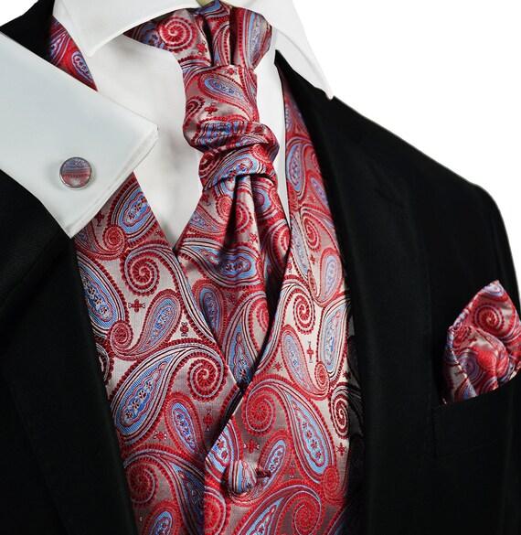Holiday Poinsettia Tuxedo Vest and Bow Tie Set