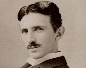 """1895 Nikola Tesla Portrait Vintage Photograph - 8.5"""" x 11"""" Reproduction"""