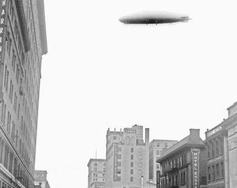 """1920 Graf Zeppelin Over Washington, DC Vintage Photograph 8.5"""" x 11"""" Reprint"""