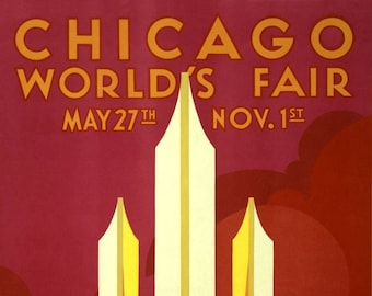 "1933 Chicago World's Fair Vintage Poster Art Print - 11"" x 17"""