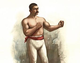 """1883 John L. Sullivan Champion Pugilist Vintage Art Print 11"""" x 17"""""""