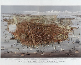 "1878 City of San Francisco, California Map/Art Print 13"" x 19"" Reprint"