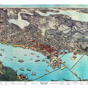 "1891 Seattle Washington Birdseye View Map Art Print 13/"" x 19/"" Reproduction"