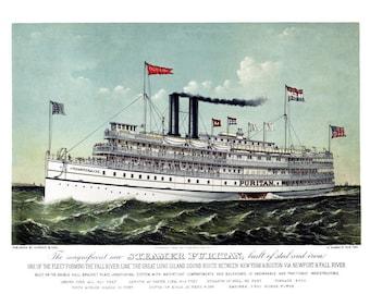 """1889 Steamship Puritan Vintage Poster Art Print 13"""" x 19"""""""