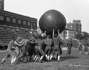 "1909-1920 Playing Push Ball Vintage Photograph 8.5"" x 11"""