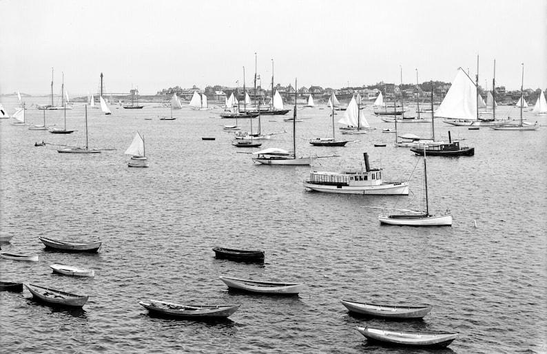 Massachusetts Vintage Photograph 11 x 17 Reprint 1900-1906 Marblehead Harbor