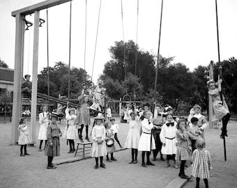 1905 Girls on Playground, St Paul, Minnesota Vintage Photograph 8.5" x 11" Reprint