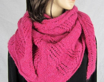 FUCHSIA - Colored air shawl - hand knitted - mothers day