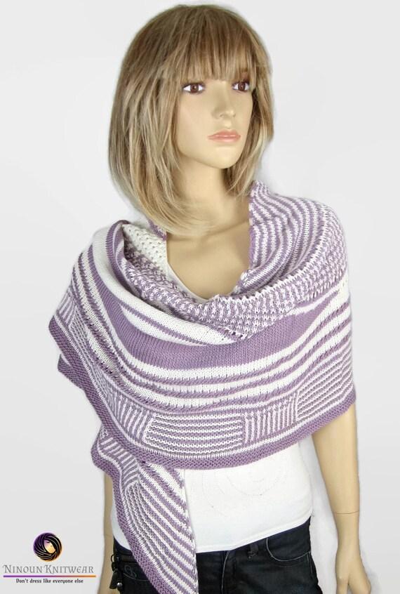 TENDRESSE - Châle chèche allongé en mérinos et soie - Tricoté main - cadeau pour  femme 5dc234525a5