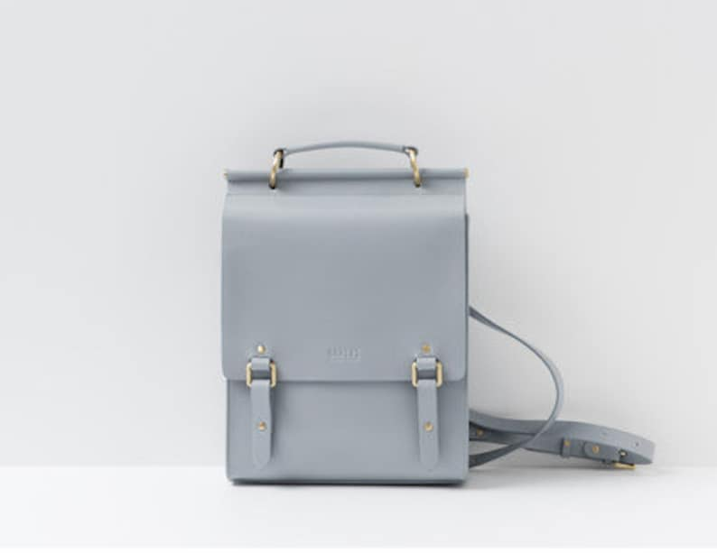 5d22fa4fa5bc Gray Leather Backpack Women Gray Shoulder Bag Leather