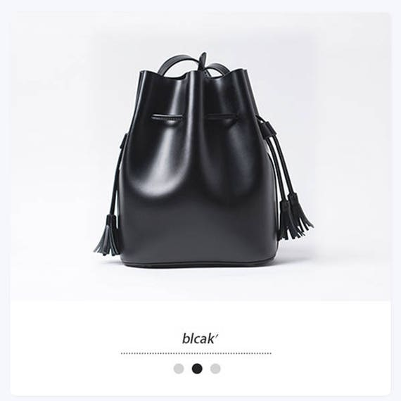 Small bucket bag leather bucket bag purse BLACK designer
