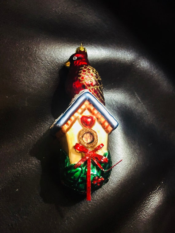 Vintage German glass ornament with Cardinal perched on a birdhouse