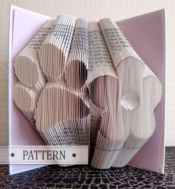book folding pattern with free tutorial paw print flower etsy