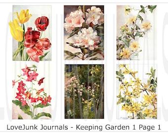 Vintage Garden Digital Journal Kit. Keeping Garden Set 1. DIGI18 09