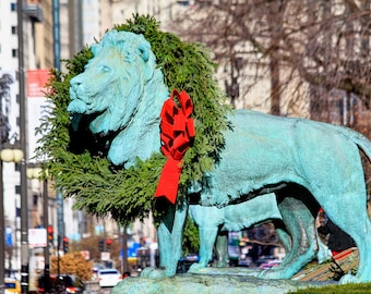 Chicago Lion Wreath Print
