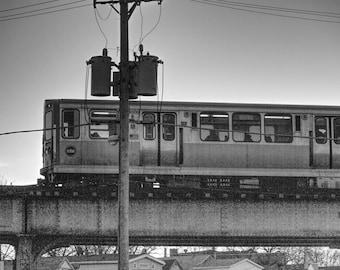 Rustic Black and White Chicago Train Print