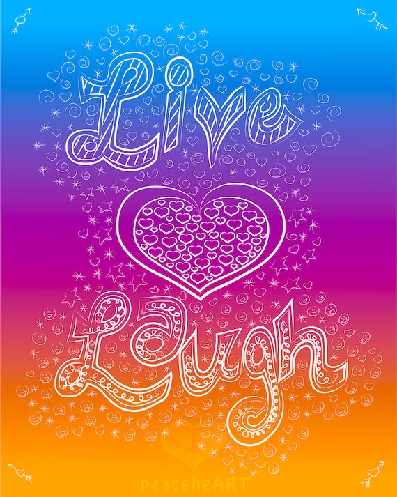 Live Love Laugh Art Print Whimsical Digital Art File Boho Etsy