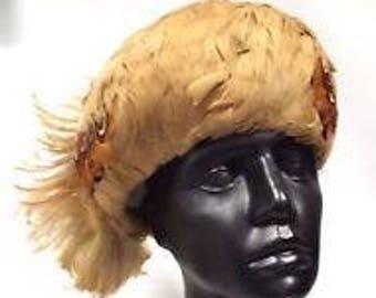 Ladies Vintage 50's 60's Pheasant Feather Hat, Feather Hat, Vintage Hat, Ladies Hat,Valentines