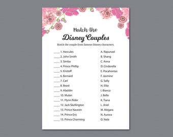 match the disney couples bridal shower famous couples match game pink floral wedding shower game printable bachelorette party a005