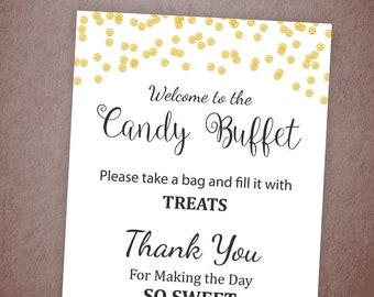 candy buffet sign printable candy bar sign gold confetti table sign grab a treat sign baby shower bridal shower decor a001