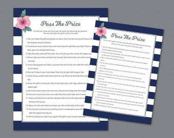 pass the prize game pass the gift pass the parcel rhyme printable bridal shower games navy stripes wedding shower a019