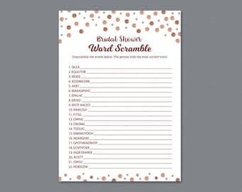 rose gold bridal shower word scramble game printable unscramble wedding party game red burgundy activity word search find words a009