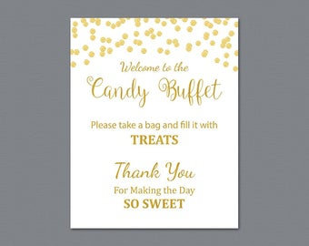 candy buffet sign printable candy bar sign gold confetti wedding table sign grab a treat sign baby shower bridal shower decor a002