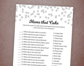name that cake guess the cake silver confetti name that wedding cake bridal shower cake game bachelorette party wedding shower a003