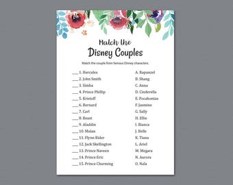 disney couples match game match disney couples bridal shower game printable watercolor floral famous couples match game download a007