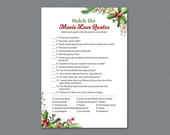 movie love quote match game winter match the romantic movies trivia movie love quote match festival christmas bridal shower games a025