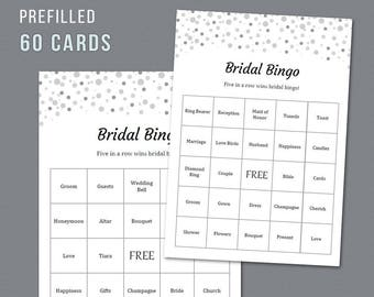 60 Prefilled Bridal Bingo Cards Printable Bridal Shower Etsy