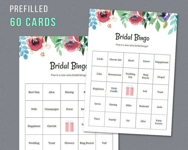 picture relating to Printable Bridal Bingo known as 60 Prefilled Bridal Bingo Playing cards, Printable Bridal Shower Recreation, Watercolor Floral, Exceptional Pre-crammed Bingo Playing cards and Contacting Sheet, A007