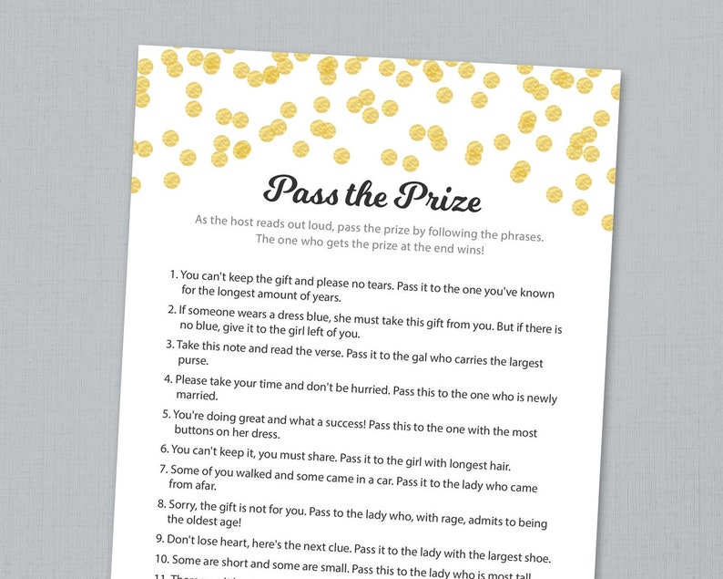 picture regarding Baby Shower Pass the Prize Rhyme Printable known as P the Prize Match, P the Present, P the Parcel Rhyme Printable, Gold Confetti, Bridal Shower, Child Shower, Wedding day Shower Online games, A001