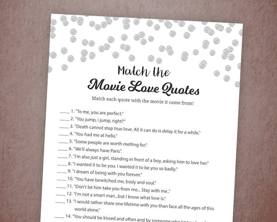 Match The Movie Love Quotes Movie Love Quotes Bridal Shower Etsy Magnificent Famous Movie Love Quotes