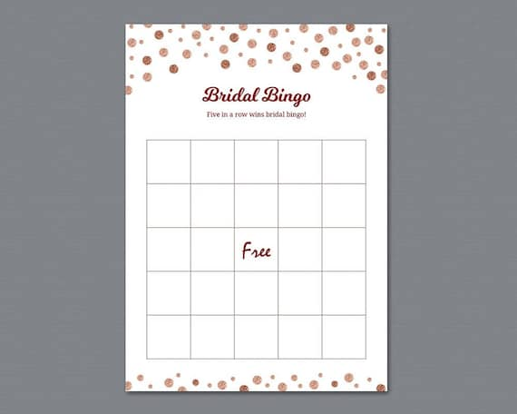 picture regarding Bridal Shower Bingo Free Printable identified as Vacant Rose Gold Bridal Shower Bingo Playing cards Template, Bridal Shower Online games, Bachelorette Occasion, Marriage Shower, Burgundy Glitter, A009