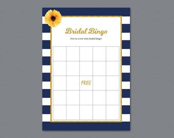 Bridal Bingo Game Cards, Gold Bachelorette Party, Bridal Shower Games, Navy Blue Stripes, Instant Download, Wedding Bingo, A027