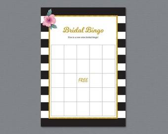 Empty Bridal Bingo Game Cards Template, Gold Bachelorette Party, Bridal Shower Games, Black White Stripes, PDF Download, Wedding Bingo, A014