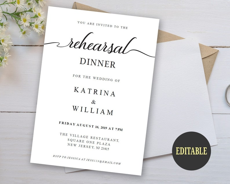 Editable Rehearsal Dinner Invitation Template Rehearsal Dinner Invite Card Pre Wedding Party Invitation Minimalist Instant Download A900