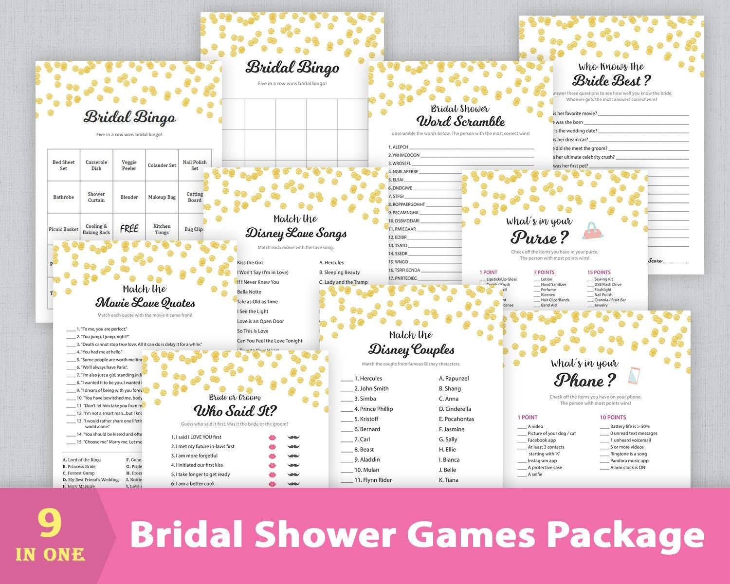 Bridal Shower Games Package, Party Games Bundle, Wedding Shower Games,  Instant Download, Gold Confetti, Bingo, Who Said It, BSPKG, A001