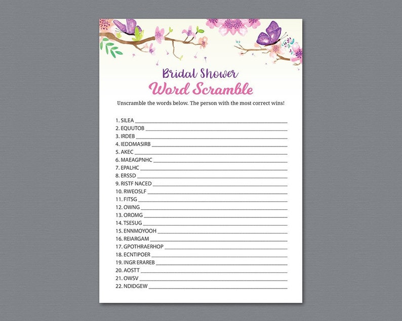 Purple Butterflies Bridal Shower Word Scramble Games Printable Unique Wedding Shower Party Games Activity Word Search Find Words A035